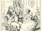 This image is an illustration in Chapter 1 of William Makepeace Thackeray's Vanity Fair from 1848. It was drawn by Thackeray himself and represents Becky Sharp, wearing a