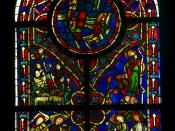 English: Stained glass window, early gothic period, ca.1220, ancient church of Varennes-Jarcy, Île de France. THe annoucement to the shepherds, the fall of the Synagoge, Angels playing string instruments. National Museum of the Middle Ages, Paris Français