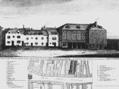 English: The first Marshalsea prison on Borough High Street, Southwark, showing the south front of the north side. Image is dated from 1773.