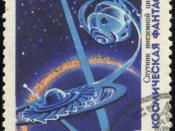 English: 1967 Soviet Union 16 kopeks stamp. Space science fiction. Satellite of extraterrestrial civilization. Русский: Марка, Советский Союз, 16 копеек, 1967. Космическая фантастика. Спутник внеземной цивилизации.