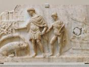Æneas lands on the shores of Latium with his son Ascanius behind him; on the left, a sow tells him where to found his city. Marble relief, Roman artwork, 140-150 AD.
