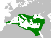 English: The extent of the Eastern (Byzantine) and Western Roman Empires in 550.