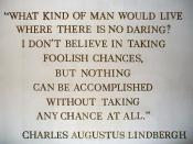 A wall-mounted quote by Charles Augustus Lindbergh in The American Adventure in the World Showcase pavilion of Walt Disney World's Epcot