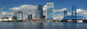 Panorama of the Jacksonville city skyline from across the St. Johns river in Jacksonville, Florida, USA. Jacksonville is the largest city in land area in the United States