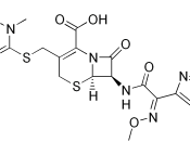 Chemical structure of ceftriaxone, C 18 H 18 N 8 O 7 S 3