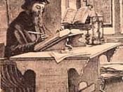 English: John Wycliffe in his study