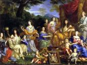 Characters from l to r: The Queen Henrietta Maria of France (1609); Philippe of France, Monsieur (1640); his daughter Marie Louise (1662); his wife Henrietta of England (1644); the queen Mother Anne of Austria; King Louis XIV ; their children, Louis (1661