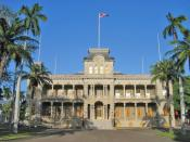 Iolani Palace in Honolulu, formerly the residence of the Hawaiian monarch, was the capitol of the Republic of Hawaii.