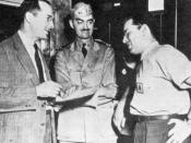 Robert Heinlein, L. Sprague de Camp, and Isaac Asimov, Philadelphia Navy Yard, 1944.