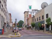 Main Street as viewed from Kanawha Street in downtown Beckley, West Virginia.
