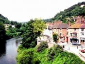 English: Coalbrookdale and the River Severn Abraham Darby put Coalbrookdale on the map with his iron works which were run by five generations of his family. The Darby family were Quakers.