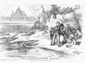 Famous 1876 editorial cartoon by Thomas Nast showing bishops as crocodiles attacking public schools, with the connivance of Irish Catholic politicians