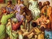 English: Jesus entering Jerusalem on a donkey