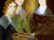 English: A painting of the three Brontë sisters; from left to right, Anne, Emily, and Charlotte. In the center of portrait is the shadow of Branwell Brontë, the artist, who painted himself out. Français : Une peinture de les trois soeurs Brontë: de gauche