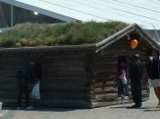 Reconstruction of Jack London's Yukon hut in Jack London Square, Oakland, California, USA. An identical cabin exists in Dawson City, Yukon, Canada. Since the original 1898 cabin, located in the Yukon wilderness, was of historical interest to both Canadian