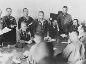 Lt Gen Yamashita Tomoyuki (seated, centre). Lt Gen Percival sits between his officers. (photo from Imperial War Museum)