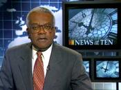 Trevor McDonald presenting News at Ten, 1996. The bulletin made him one of the most recognisable faces of British television news