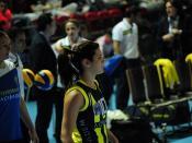 English: Turkish volleyball player Yagmur Kocyigit during a match for Fenerbahce Acibadem Women's Volleyball Team