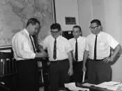 Henderson (first man on left) as part of the CDC's smallpox eradication team in 1966.