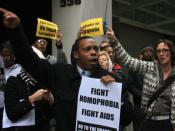The AIDS Coalition to Unleash Power, a group against AIDS, protests in New York City against the Anti-Homosexuality Bill in Uganda.