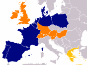 Aldi in Europe, (blue = north, orange = south)