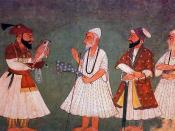 Guru Gobind Singh (with bird) encounters Guru Nanak Dev. An 18th century painting of an imaginary meeting.