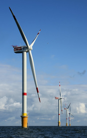 Newly constructed windmills D4 (nearest) to D1 on the Thornton Bank, 28 km off shore, on the Belgian part of the North Sea. The windmills are 157m (+TAW) high, 184m above the sea bottom. Vane length : 61.5m Rotor diameter: 126m Rotor area: 12.469m² Turbin