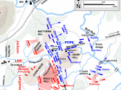 English: Map of the Second Battle of Bull Run of the American Civil War, drawn in Adobe Illustrator CS5 by Hal Jespersen. Graphic source file is available at http://www.posix.com/CWmaps/