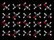 Ball-and-stick model of part of the crystal structure of ethanol at 87 K (−186 °C). X-ray crystallographic data from Acta Cryst. (1976). B32, 232-235. Model constructed in CrystalMaker 8.1. Image generated in Accelrys DS Visualizer.