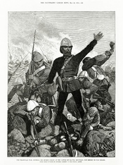 The Transvaal War: General Sir George Colley at the Battle of Majuba Mountain Just Before He Was Killed. See File:Melton Prior - Illustrated London News - The Transvaal War - General Sir George Colley at the Battle of Majuba Mountain Just Before He Was Ki