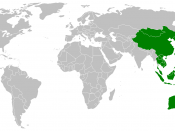 Map showing countries within the Asia-Pacific region. The definition of the region is fairly ambiguous.