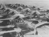 English: Aircraft are prepared for a morning sortie on the Imperial Japanese Navy aircraft carrier Zuikaku, east of the Solomon Islands, on May 5, 1942. On May 7 and 8 the carrier was involved in exchanges of airstrikes with United States Navy carriers du