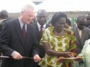 American Ambassador Aubrey Hooks and Ivoirian First Lady Simone Gbagbo launched a community-based voluntary HIV/AIDS counseling and testing center in the Abidjan neighborhood of Treichville 2006-02-28