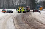 English: Car accident near Dammsjön, Säter Municipality, Sweden. Svenska: Trafikolycka nära Dammsjön, Säters kommun, Sverige.