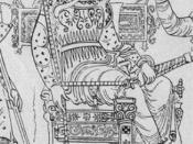 Español: Darío I, rey de los persas Deutsch: Darius aus Baumeister: Denkmäler des klassischen Alterums. 1885. Band I.; Tafel VI. Die Abbildung zeigt Darius auf der sogenannten griechischen Darius-Vase in Neapel, 1851 in Canosa gefunden.