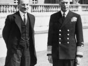 Clement Attlee meeting with King George VI in the grounds of Buckingham Palace, following the Labour victory in the 1945 general election.