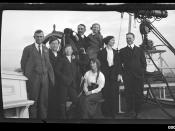 Captain Edward Robert Sterling with seven other people on a ship's deck