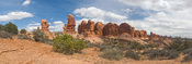 Panorama of the Garden of Eden in Arches National Park.