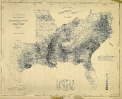 English: A map issued by the US Coast Guard showing the percentage of slaves in the population in each county in the slave-holding states of the United States in 1860, see http://opinionator.blogs.nytimes.com/2010/12/09/visualizing-slavery/