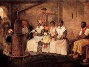 English: Slaves Waiting for Sale - Richmond, Virginia. Oil, 20¾ x 31½ inches. Painted upon the sketch of 1853