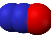 Space-filling model of nitrous oxide, N 2 O