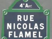 English: Nicolas Flamel Street sign in Paris Deutsch: Nicolas Flamel Strassenschild in Paris