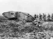 (W.W.I - 1914 - 1918) Mark II female Tank Number 598 advancing with Infantry at Vimy
