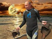 Euro Sunset on Cyprus with Vladimir Putin diving for the Gazprom treasures while diligent locals are faced with a tax grab of their small savings