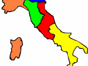 The Italian States in 1859 before the unification: in orange the Kingdom of Sardinia, in yellow the Kingdom of the Two Sicilies, in red the Papal States, in blue the Kingdom of Lombardy-Venetia, and in green the Grand Duchy of Tuscany, the Duchy of Parma