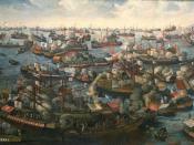 English: A painting of the battle of Lepanto in 1571. Oil on canvas Deutsch: Die Schlacht von Lepanto 1571. Öl auf Leinwand. Svenska: En målning av slaget vid Lepanto 1571. Olja på duk.