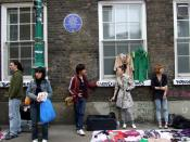 English: Sir Thomas Foxwell Buxton in Brick Lane The blue plaque marks the residence of the anti-slavery campaigner and MP who in 1823 formed the Society for the Extinction of the Slave Trade, aimed at total abolition. In 1824 he succeeded William Wilberf