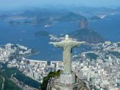 Panoram Cristo Redentor, Bahia de Guanabara, Pão de Açúcar e Botafogo, Rio de Janeiro, Brasil.