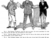English: Political cartoon depicts voters in Scotland, Iowa, and Oregon, making a pointed commentary on the likelihood of the latter making an informed decision.