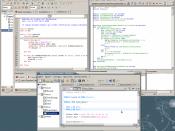 English: Three modern Basic dialects running under Ubuntu 8.10: Mono Basic, Open Office Basic and Gambas